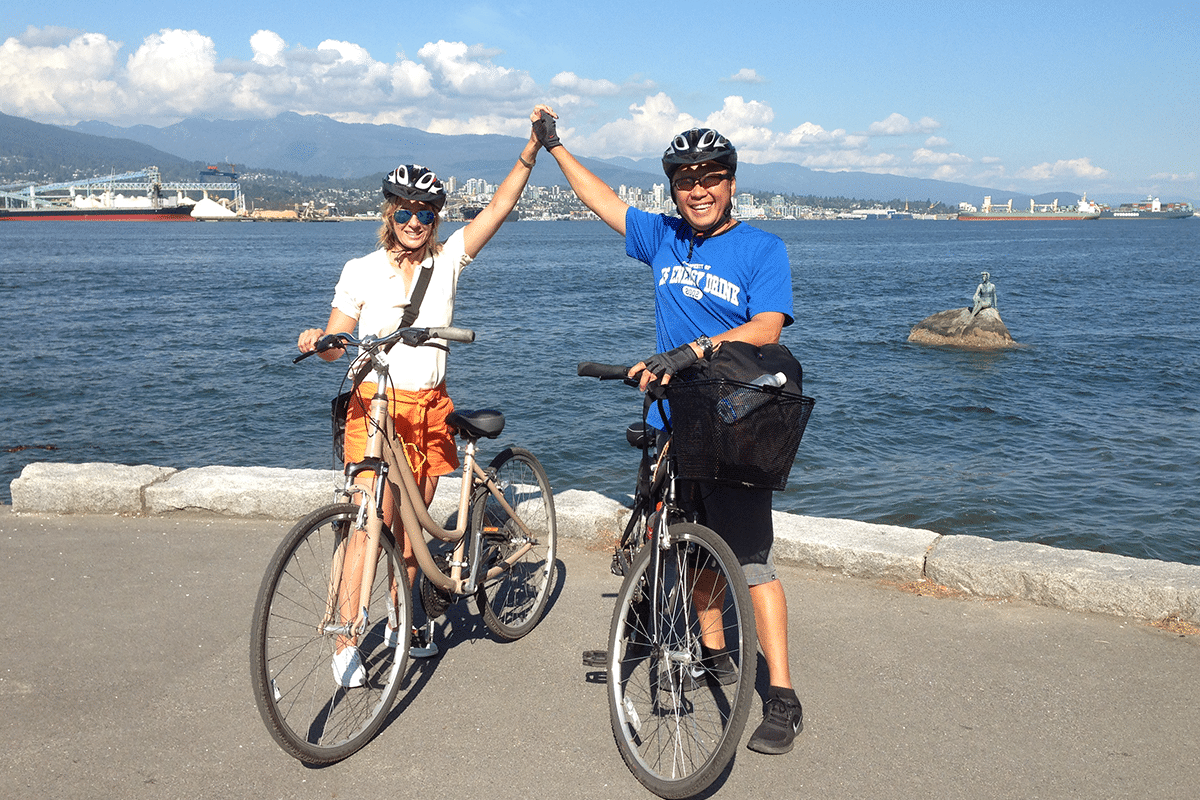 Dan and Sandy Yuen on Bicycles